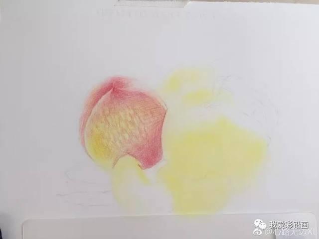 彩铅手绘——诱人的桃子
