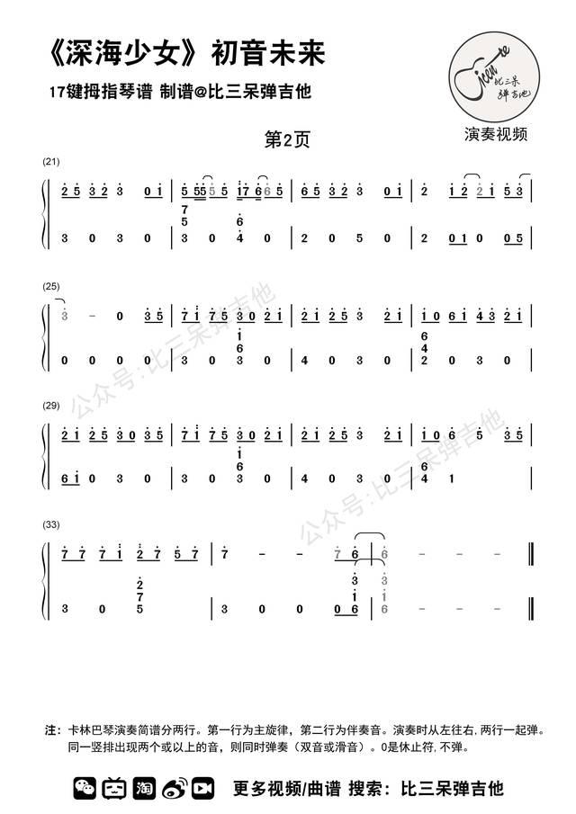 深海少女 初音未来|拇指琴简谱 卡林巴琴曲谱图片