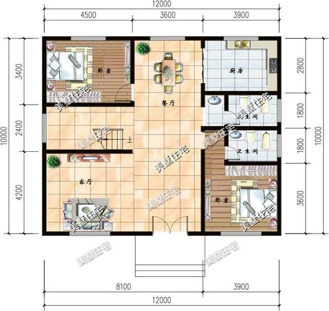 一层平面图:12x10米大标准户型,一楼两个大卧室,还有一个带独卫,房间