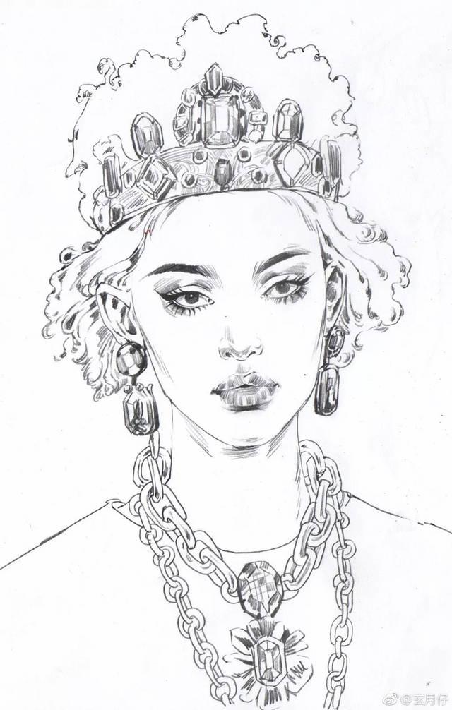 8 灰色画项链,黑色勾画衣服的花纹,一个简单清新的头像小插画就完成
