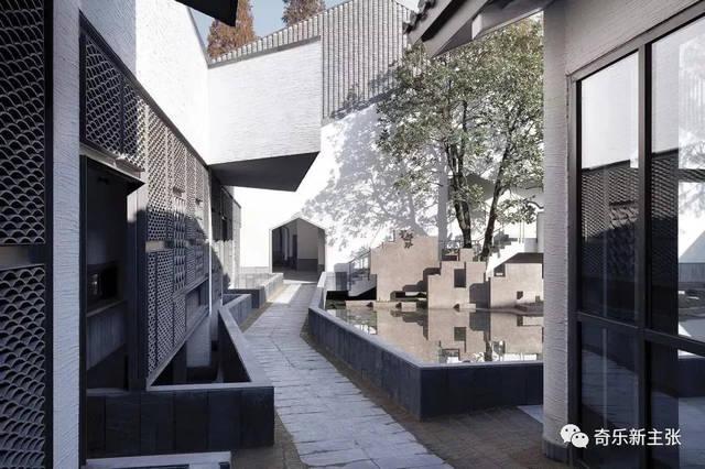 在院落轴线上通过连廊形成连接 还原传统中式庭院的回游体验 表现出图片