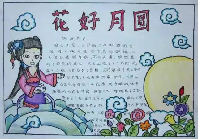 小学生中秋节手抄报简单又好看图片(附中秋节来历习俗
