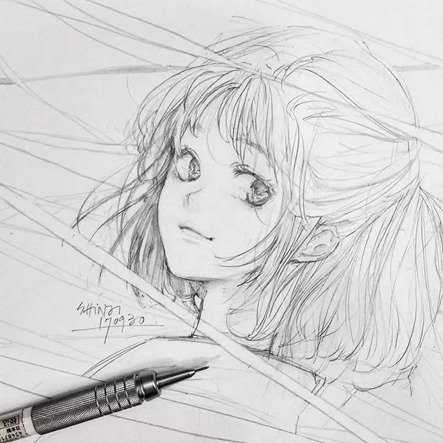 线条感十足的动漫人物素描,超美少女图片