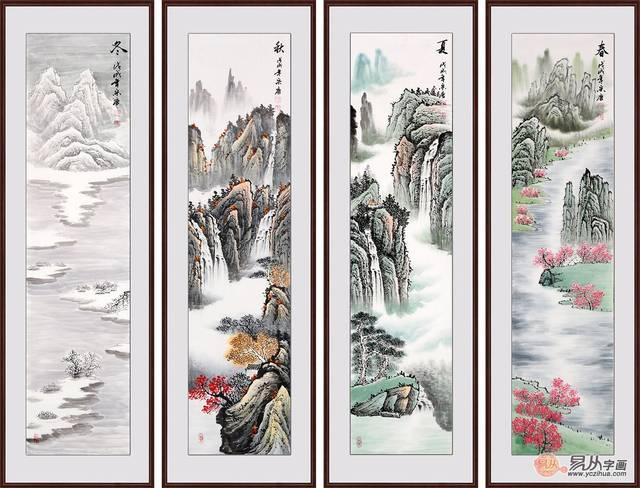 山水四条屏 宋唐力作竖幅条屏山水画《春夏秋冬》 作品来源:易从网图片