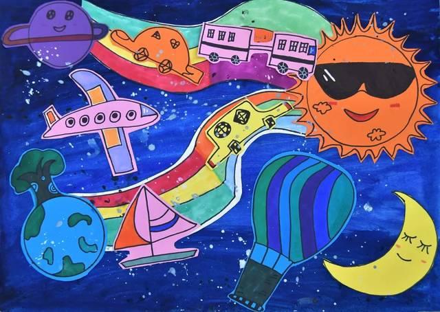 学生们用五彩的画笔描绘出了一幅幅奇思妙想,充满创意的科幻画作品.图片