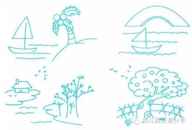 幼儿园风景类简笔画,简单的线条一样可以勾勒出美丽景色!