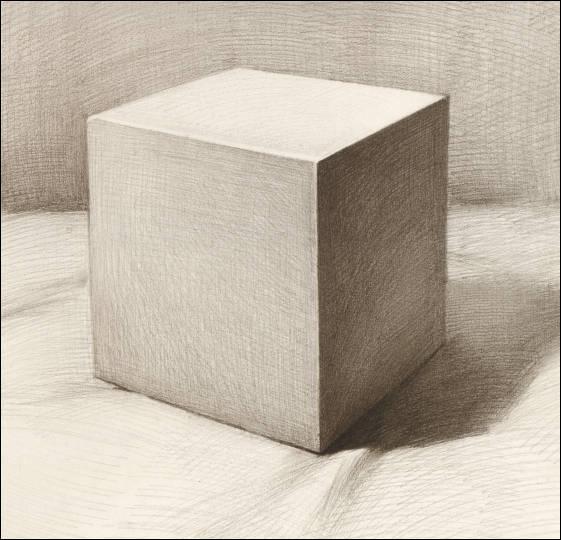 少儿创意美术《素描几何石膏—正方体》,步骤详细解读