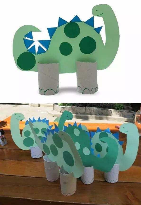 准备材料:纸筒,颜料,剪刀 制作步骤如下图解: 最后来一组小动物的