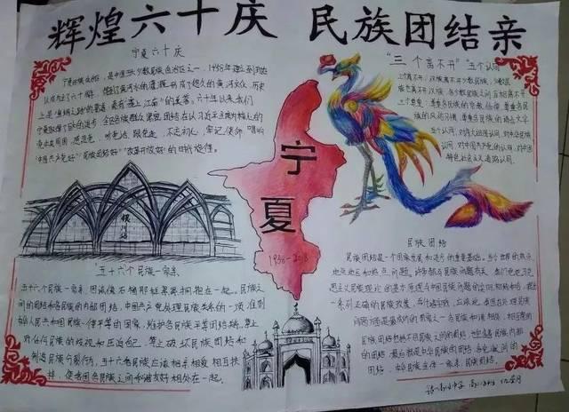 """这边风景独好 ——银川高级中学""""辉煌六十庆·民族团结亲""""手抄报展评"""