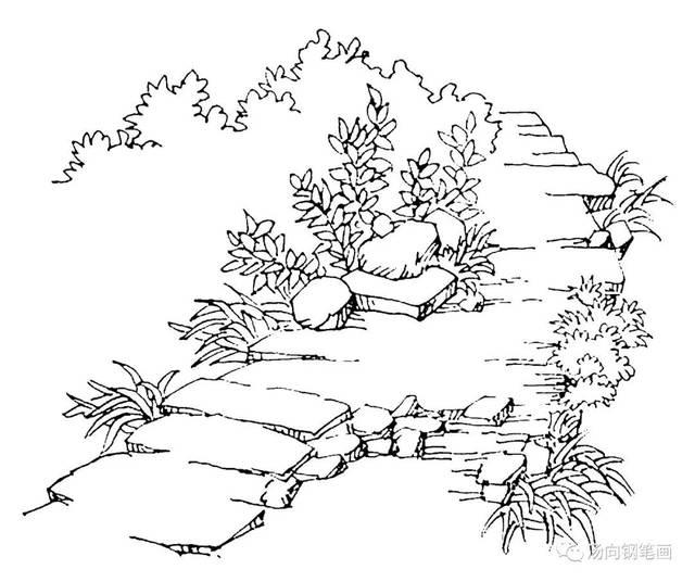 学钢笔画239青石小路…走一走风景这边独好!