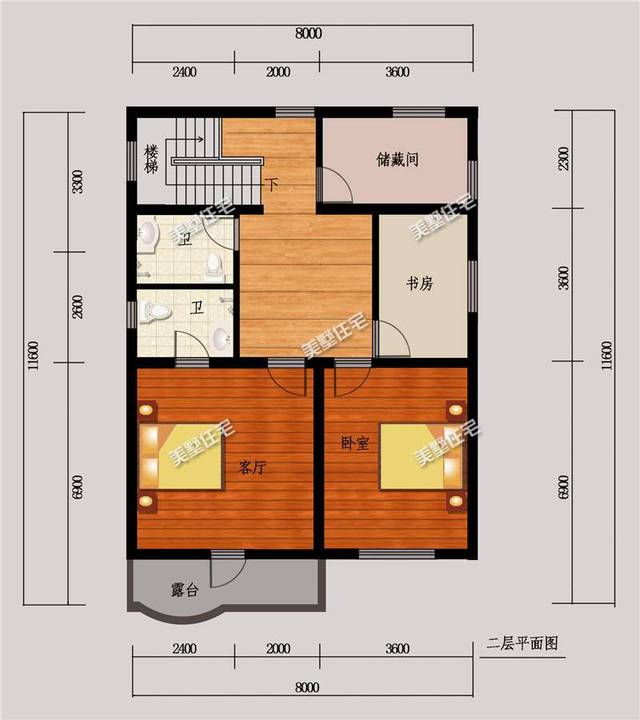 二层平面图:2卧室,2卫生间,书房,储藏室,露台.