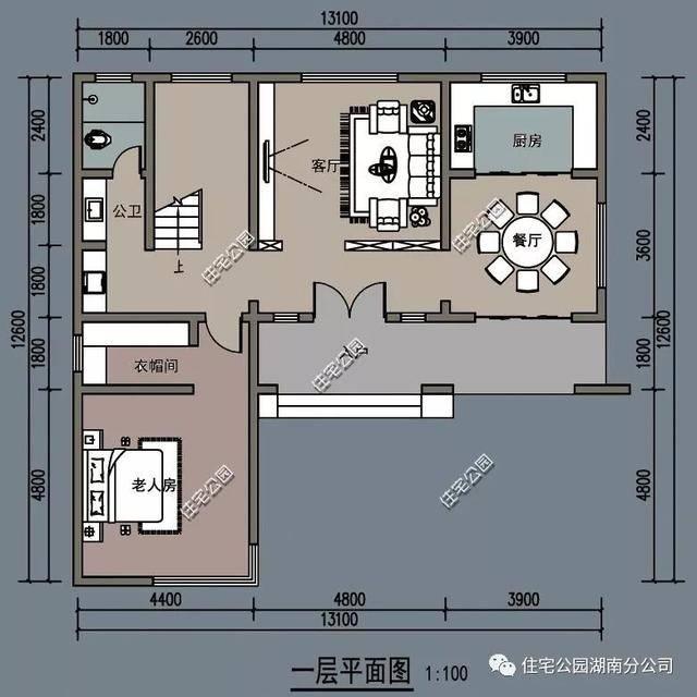 农村自建房户型,4室2厅占地仅100平可三世同堂