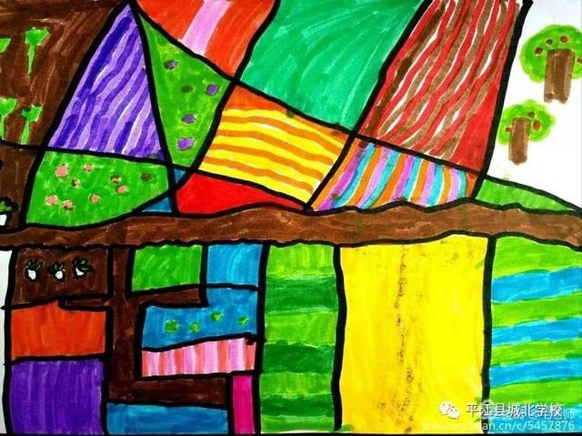 【遇见美好】382班美术课堂作业《田野的色彩》图片