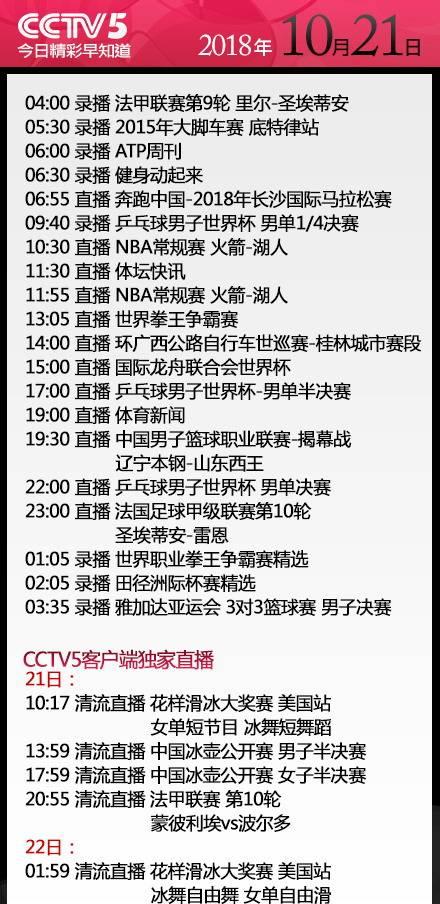 央视今日节目单 CCTV5直播NBA+CBA揭幕战 CCTV5+直播上港