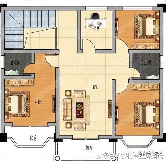 3套农村经典120平农村自建房,7间卧室带烤火房和晒台图片