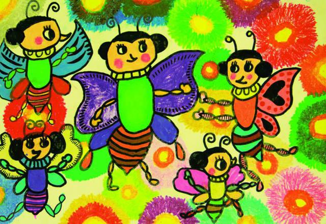 少儿创意美术《花丛中的小蜜蜂》图片