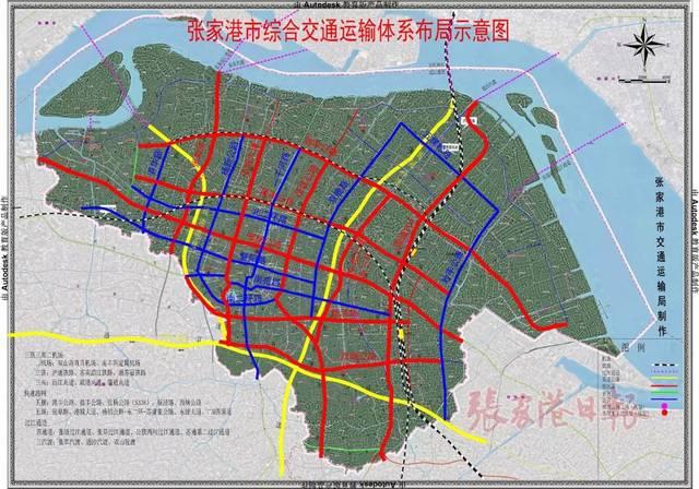 张家港市综合交通规划示意图