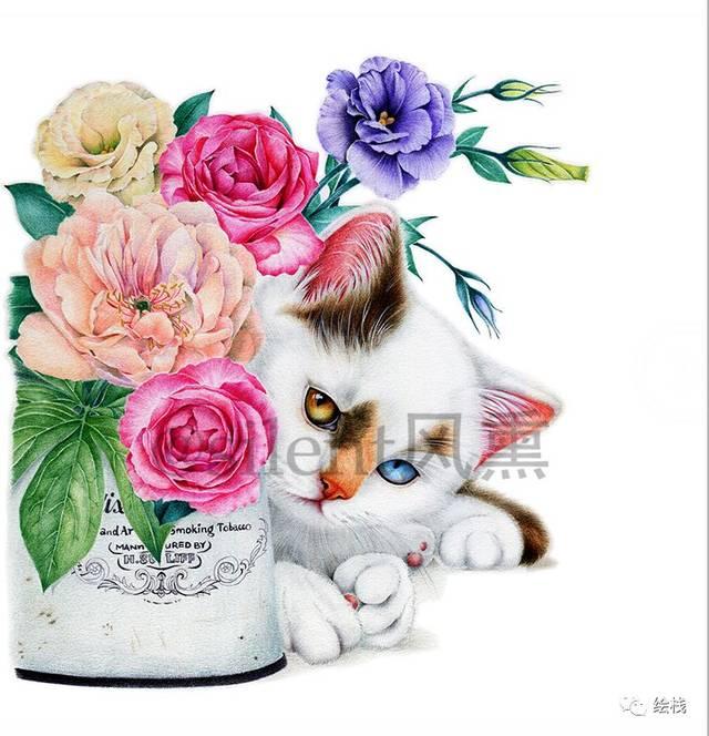 手绘水彩猫图案书签