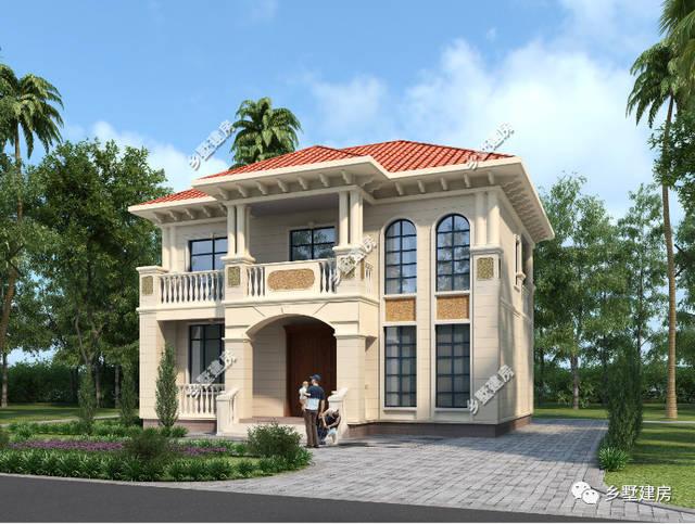 外墙是鹅黄色的真石漆,屋顶红色琉璃瓦,欧式田园风格,独特的开窗设计图片