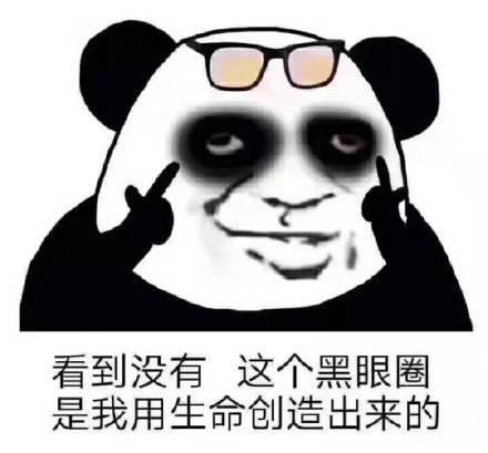 熊猫头晚睡熬夜表情包图片