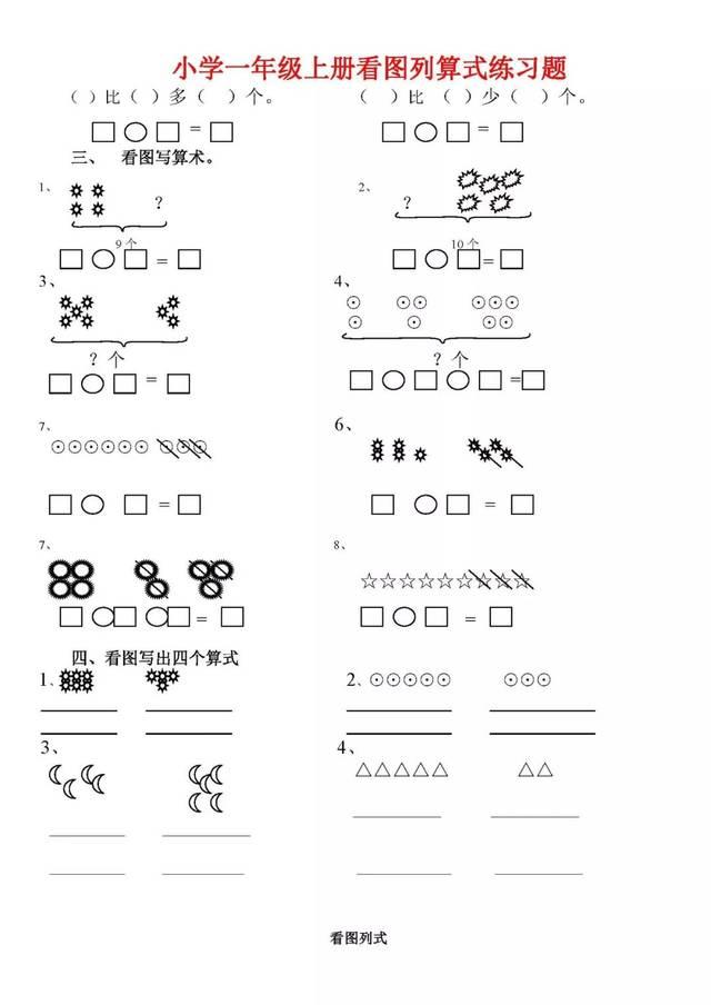 人教版小学一年级数学上册看图列算式练习题(共21页)图片