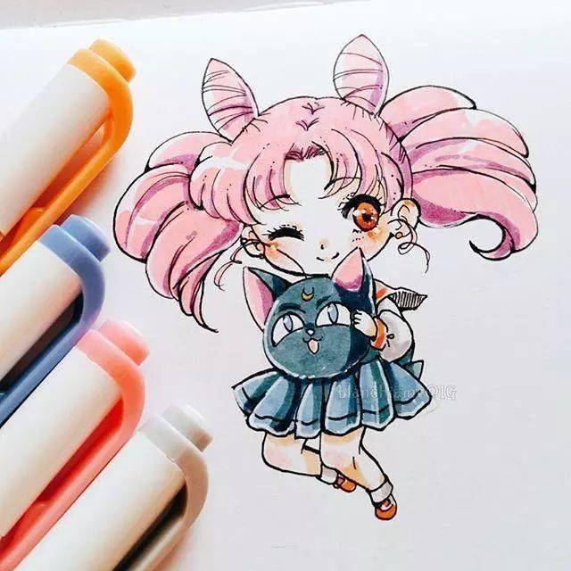 超可爱的q版马克同人v同人,用马克漫画出很萌的小人物笔画seed高达笔手图片