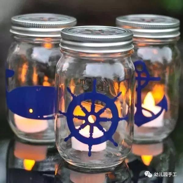 diy个床头阅读灯,不要惊讶,这真的是可以的:)在玻璃瓶内刷上丙烯颜料图片