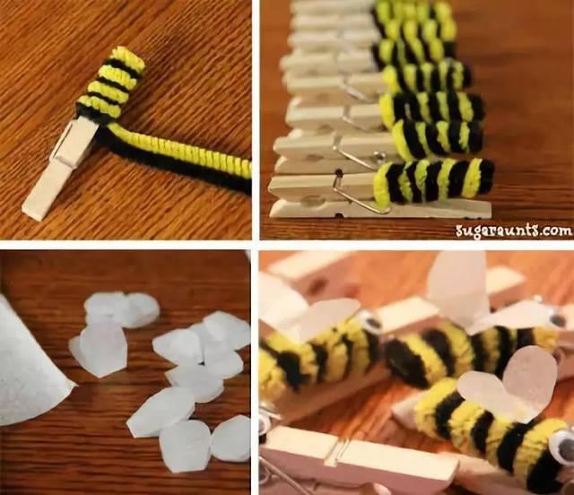 适合小班幼儿的手工蜜蜂,制作完成后,带着幼儿到户外扔飞盘,让小蜜蜂