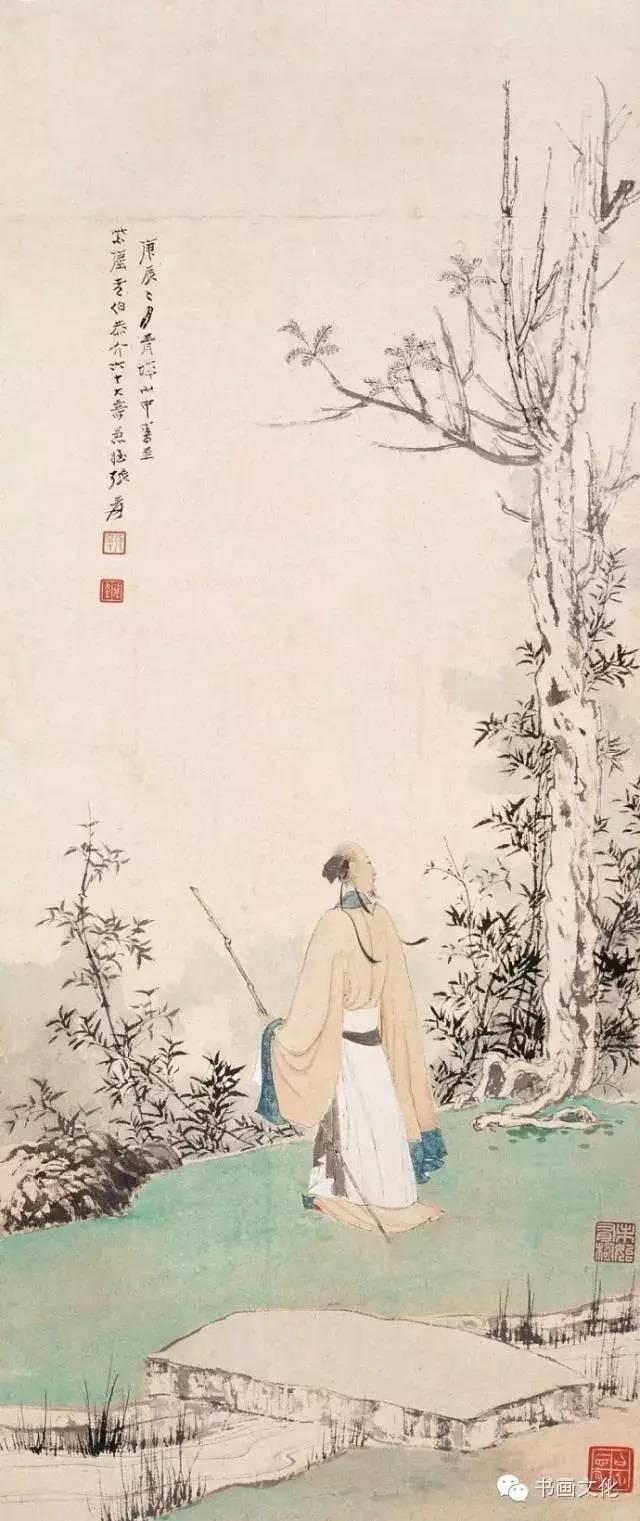 鹿柴诗配画手绘