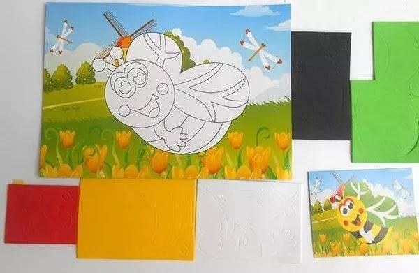 创作发明|教你制作可爱的儿童手工diy小蜜蜂立体粘贴画的步骤图片