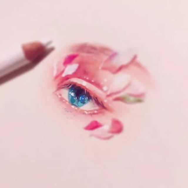 """绘画素材   唯美彩铅手绘眼睛,""""桃花眼""""参考"""