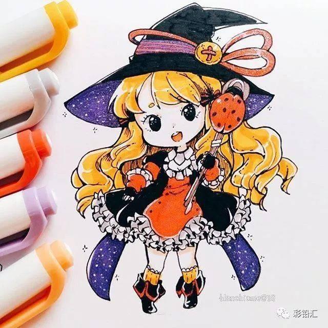 超可爱的q版马克赤月v赤月,用马克笔手出很萌的小人物漫画う笔画ゅみと图片