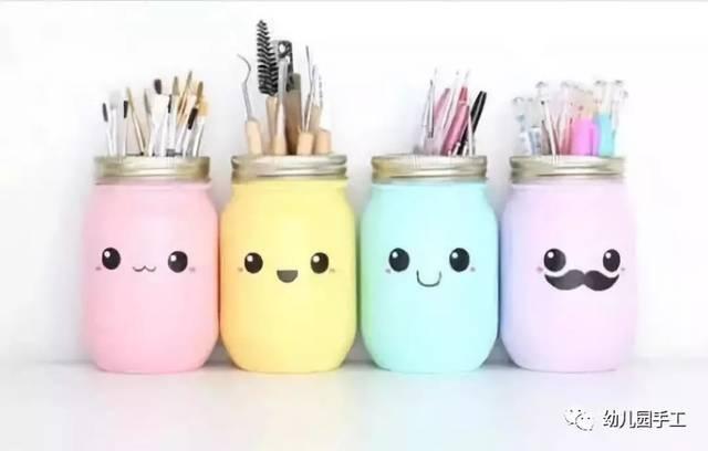 瓶内刷上丙烯颜料,待颜料干后,画上喜欢的表情,多做几个,把孩子的画笔图片