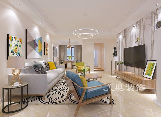 建業花園里140平裝修效果圖極簡三居室設計——客廳沙發布局