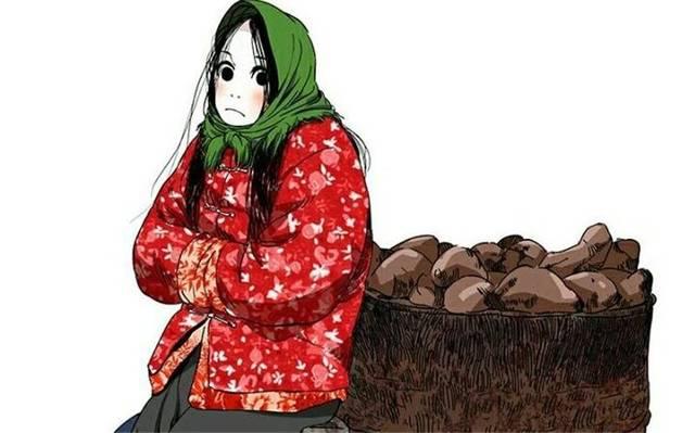 这样的宝儿姐有点像60年代的农村花姑娘,穿着大红袄子,头上还戴了头巾图片