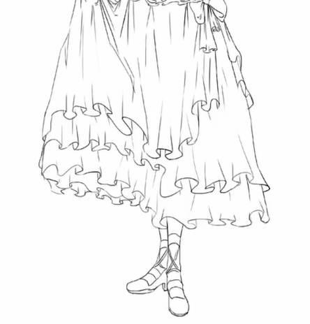 【干货】教你如何设计出自己的洛丽塔——3线稿图片