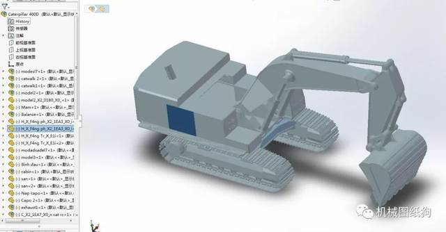 【工程机械】420d履带挖掘机模型3d图纸 step格式