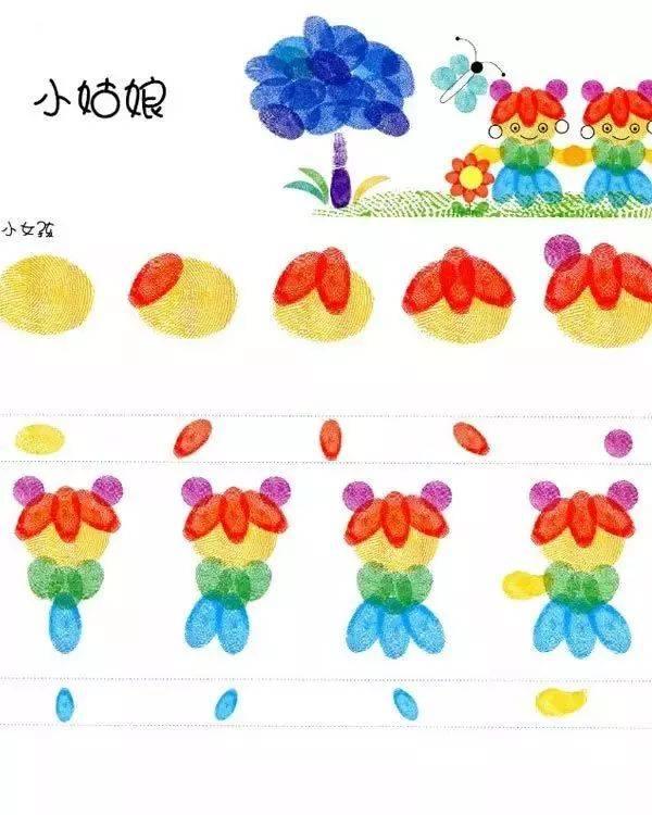 幼儿园大中小班创意手指印画制作及教案参考图片