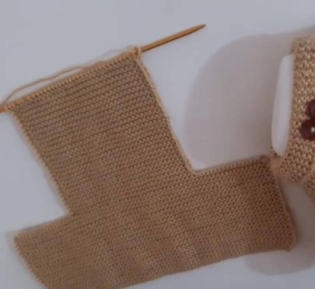 男士地板袜编织方法,全部编织下针就能完成,简单易学
