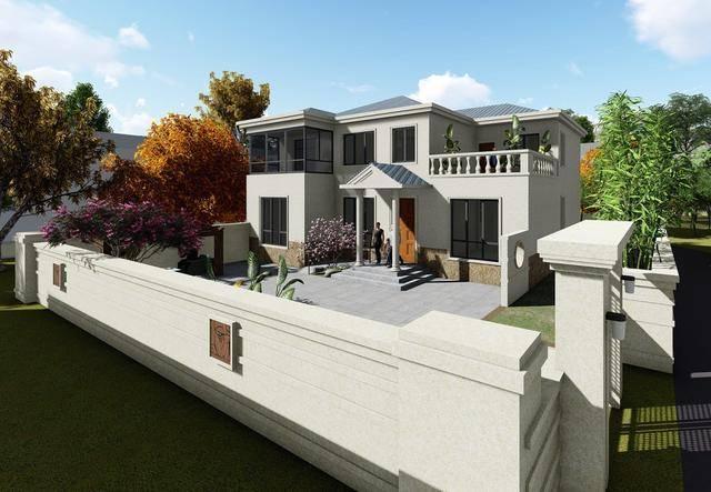 最新款农村二层6室3厅别墅设计图及实景图