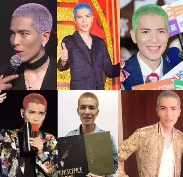 唔,在发型这一点上,萧敬腾又get了个同款.这次是彩虹色寸头.