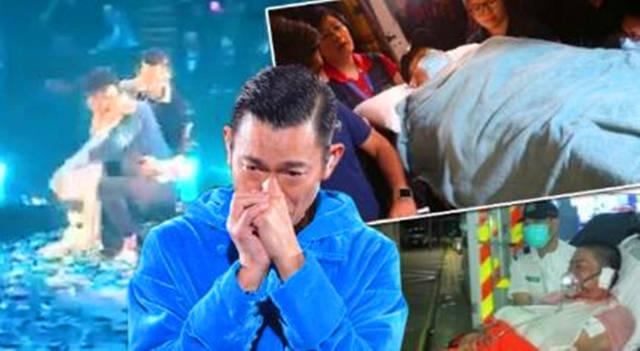 刘德华流泪宣布中止演唱会一刻朱丽倩立即站起来为老公打气