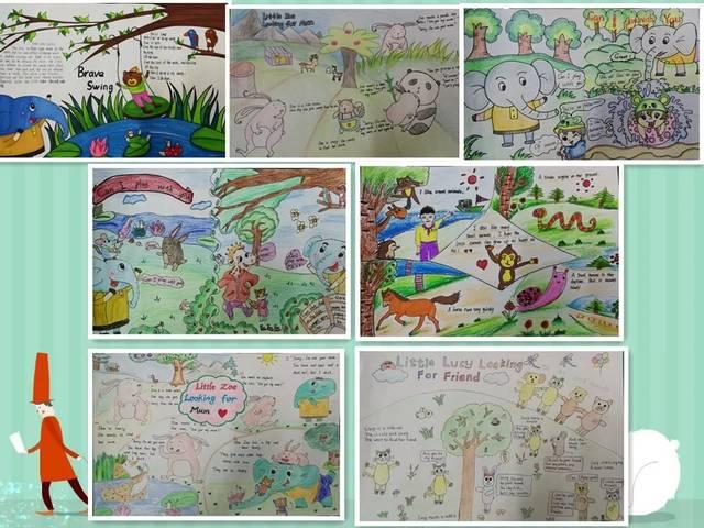 四年级的学生根据绘本内容以仿写,续写,改编故事的形式制作阅读小报.