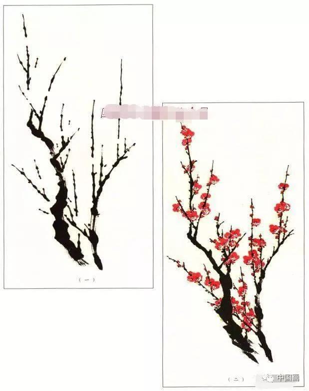 写意梅花画法示范教程,梅花的树干和根部画法,画梅花的构图形式图片