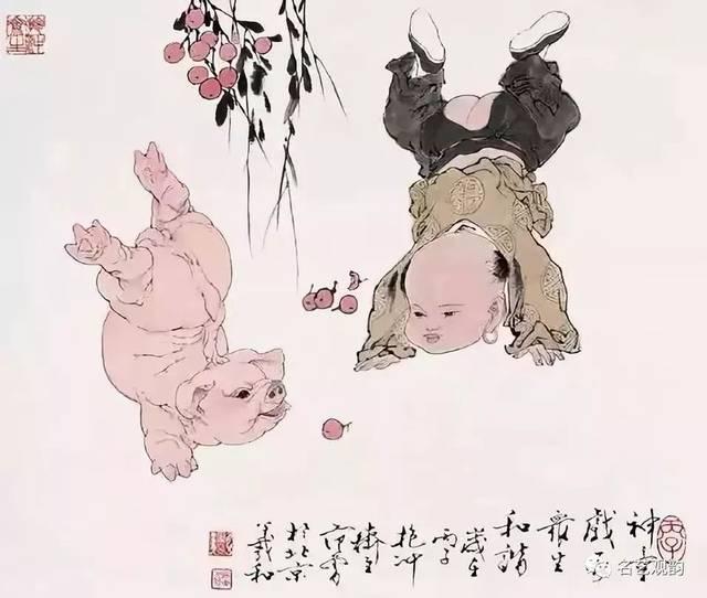 9 范曾 十二生肖之猪 10 韩美林画猪 在画坛上,有猪不入画之俗.图片