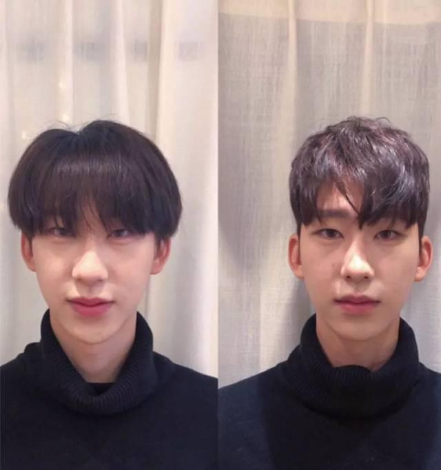男生3.7分刘海烫发图片