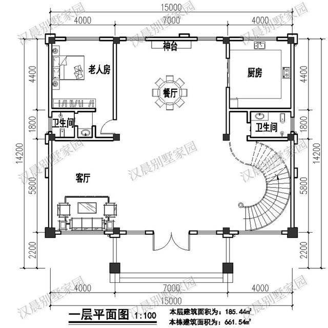 2米四层农村独栋别墅设计图,旋转楼梯 挑空客厅图片