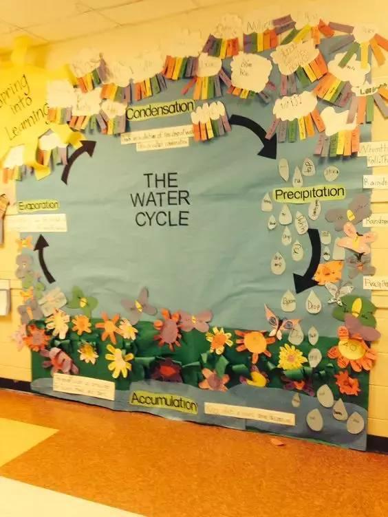 走廊的大片墙面很适合设计大型的科学示意图,如水循环图,生物循环图图片