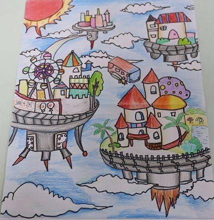 未来城市手绘儿童