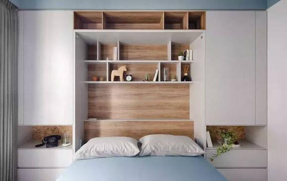 卧室面积小怎样装修?试试床头墙面安装储物柜吧,美观更实用!图片